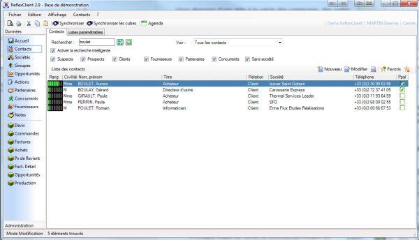 ReflexClient CRM - Liste des contacts