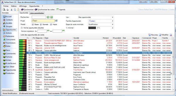 ReflexClient CRM - Liste des opportunités de vente